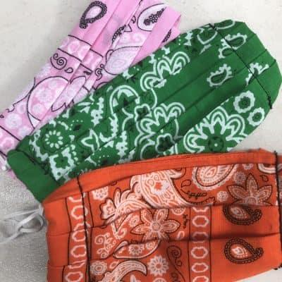Pink Green and Orange DIY Bandana Face Mask on a white background