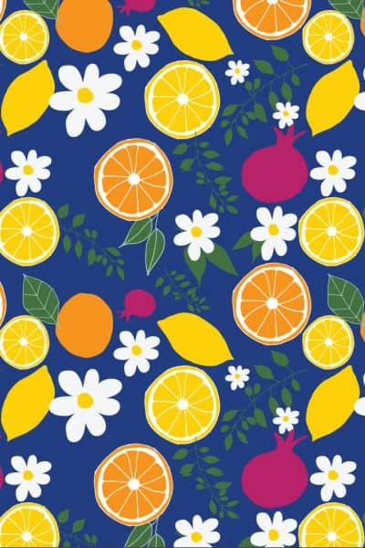 Surface Pattern Design by Alexis of Blooming Creativity of Citrus fruits, pomegranates, daisies and leaves with a dark blue background