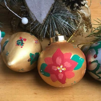 hand-painted ceramic Christmas ornaments