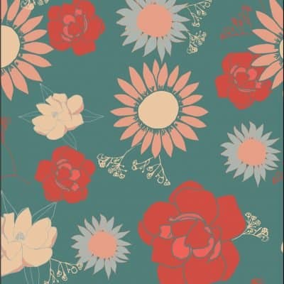 colorful flower pattern design with roses, daisies, and magnolias and green background